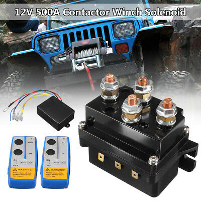 12V HD Contactor Winch Control Solenoid Twin Wireless Remote Recovery 4x4 500Amp