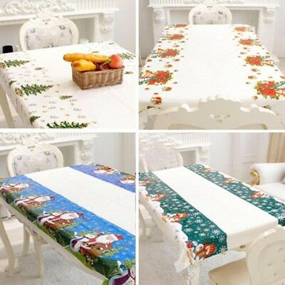 PVC Vintage Christmas Tablecloth Disposable Plastic Coated Paper Santa Tree New