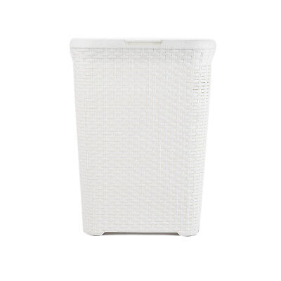Laundry Basket White Large Rattan Effect Style Plastic hamper Ideal Gift