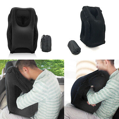 2017 Inflatable Air Cushion Travel Pillow Head Neck Sleep Support Camping Black
