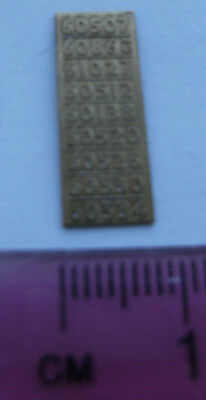 Model Railway Brass Nameplate Number Set 60507 60520 etc
