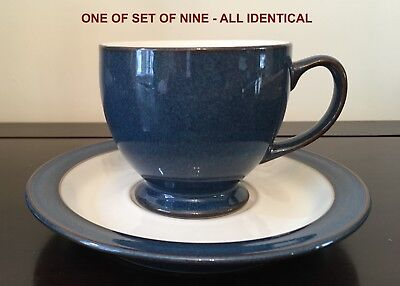 "Denby ""Boston"" tea cups & saucers - set of 9 - rare (similar to Imperial Blue)"