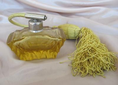 ANTIQUE ART DECO AMBER COLOR CRYSTAL GLASS PERFUME BOTTLE w/ATOMIZER