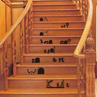 Funny Mickey Mouse Family Pattern Wall Stairs Stickers Room Floor Decor Decals