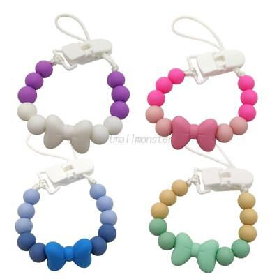 Baby Pacifier Necklace Silicone Beads Dummy Clip Holder Clips Pacifier Chain