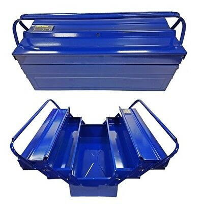 "Heavy Duty 21"" 530mm Metal Cantilever 5 Tray Toolbox Storage Tool Box Blue New"