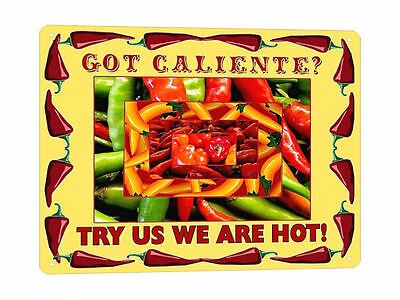 MEXICAN hot peppers metal SIGN hot sauce collectible resaurant style decor 182