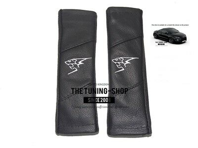 """2x Seat Belt Covers Pads Leather """"Lion"""" Grey Embroidery For Peugeot"""