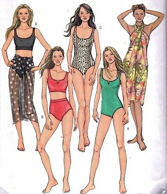 Vtg '06 UC Butterick Pattern 4526 Swimsuits Bathing Suits Wraps Sz 14 16 18 20