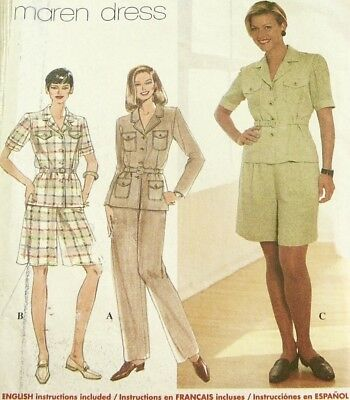 Vtg 90s UNCUT SIMPLICITY Pattern 7598 SAFARI Shirt Belt Shorts Pants Size 6 8 10