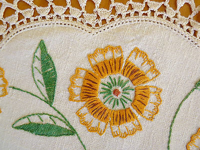 BRILLIANT ORANGE MARIGOLDS Large Doily Hand Embroidered Table Centre VINTAGE