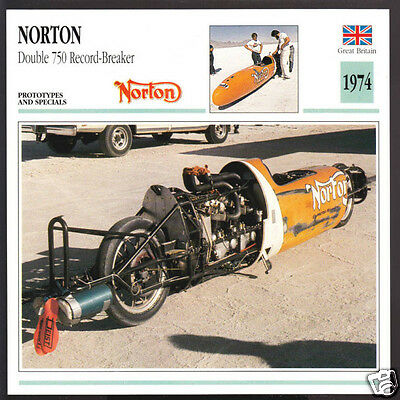 1974 Norton Double 750cc Don Murray Speed Record-Breaker Motorcycle Photo Card