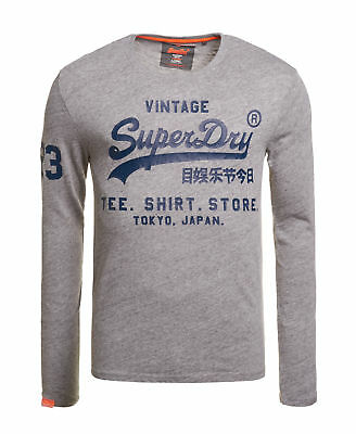 New Mens Superdry Factory Second Stacked T-shirt Grey Grit