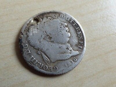 George III Silver Sixpence 1816 Holed Perfect for Pendant/ Fob (myrefn12548)