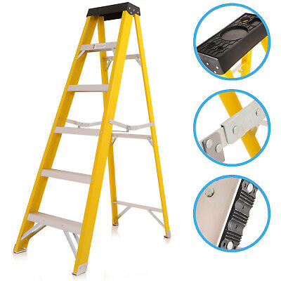 6 Tread Step Commercial Electrician Safety Fibre Glass Folding Access Ladder