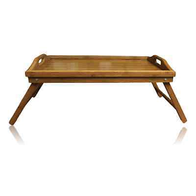 Wooden Bamboo Breakfast in Bed Serving Lap Tray Folding Legs Laptop Table Mate