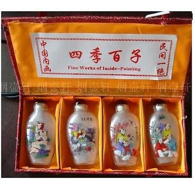 snuff bottle, inside painting, Chinese painting, 4pcs/set