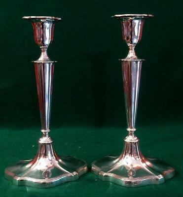 Large pair of Victorian Adam style solid silver candlesticks Sheffield 1899