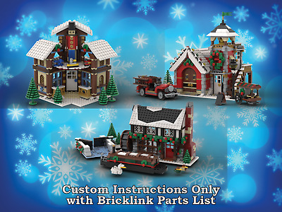 Winter Village Woodcarver, Firehouse, & Pub INSTRUCTIONS ONLY for LEGO Christmas