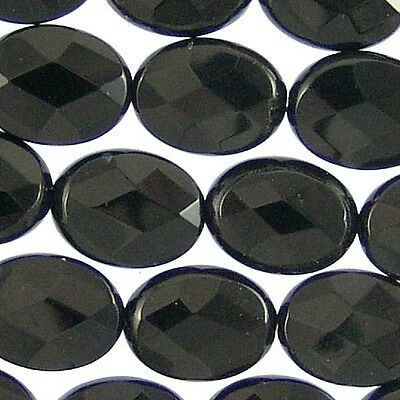 Black Onyx Gemstone 16mm Faceted Flat Oval Beads 71209