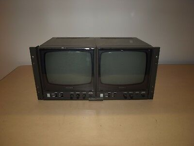 """Sony PVM-91 Security Surveillance Dual 8"""" Video Monitors- Tested Ott"""