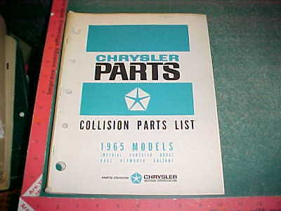 1965 Chrysler Car Collision Parts List Valiant Plymouth Dodge Dart