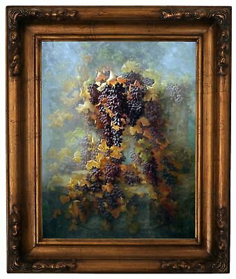 Deakin Grapes and Architecture 1907 Wood Framed Canvas Print Repro 11x14