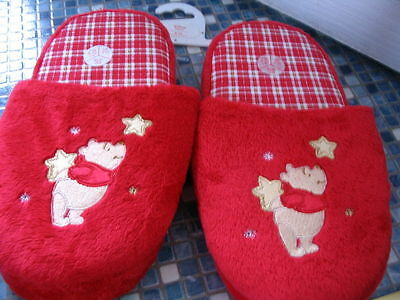 Disney Store Winnie the Pooh Red Slippers - Age 5/6 OR 9/10 BRAND NEW!!
