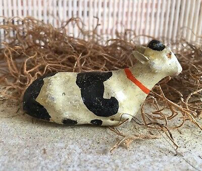 Antique Vintage German Composition Black White Cow Laying Down Nativity Figure