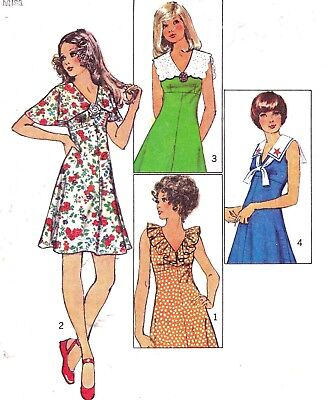 Vtg 70s UC Simplicity Pattern 9863 Mini Dress Empire Waist Flared Skirt Sz 10