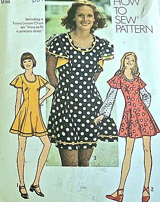 Vtg 70s UC SIMPLICITY Pattern 5466 Mod Flared MINI Dress Butterfly Sleeves Sz 12