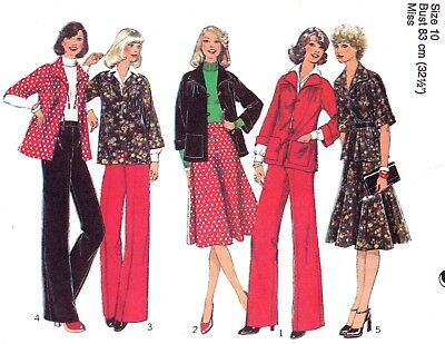 Vtg 70s UC STYLE Pattern 1629 Misses Top or Jacket Skirt Pants Sz 10 B 32.5