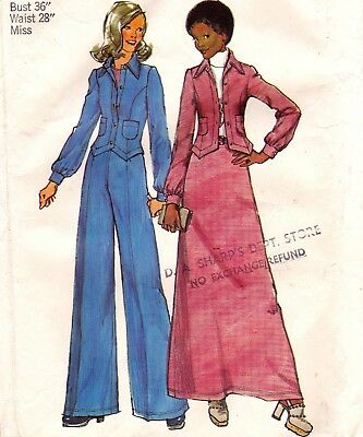 Vtg 70s UC Simplicity Pattern 5866 Fitted Jacket Wide Leg Pants Maxi Skirt Sz 14