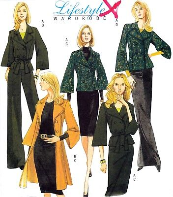 Vtg '08 UC Butterick Pattern 5258 Jacket Belt Skirt Pants Sz 16 18 20 22 +Petite