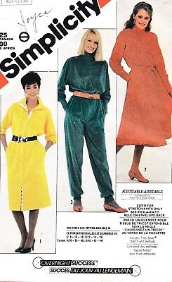 Vtg 80s UC Simplicity Pattern 6023 Jumpsuit Dress Straight or Full Sz 12 14 16