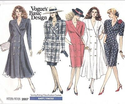 Vtg 80s UC Vogue Pattern 2007 Coatdress Fitted or Flared Tunic Skirt Sz 8 10 12