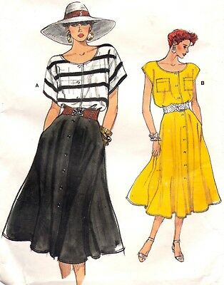 Vtg 80s UC Very Easy Very Vogue Pattern 9578 Loose Top Flared Skirt Sz 8 10 12