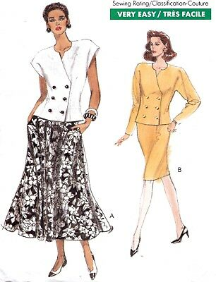 Vtg 90s UC VOGUE Pattern 7747 2 Pc Suit Top Skirt Variations Sz 14 16 18 +Petite