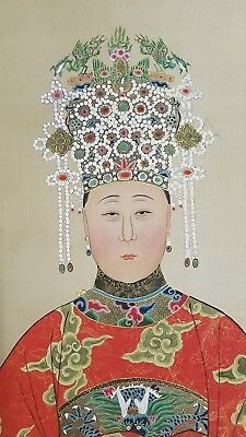 Antique Chinese Scroll Painting Beautiful Woman in Headdress Signed