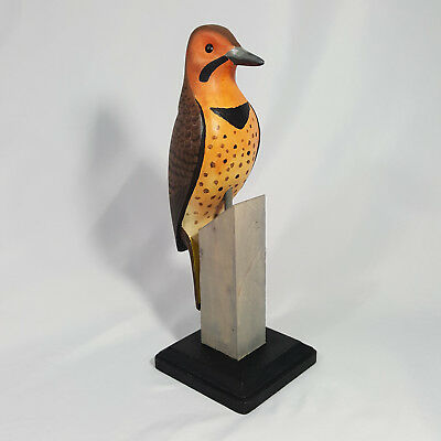 Northern Flicker Carved Woodpecker Bird Decorative Smooth Signed Lawrence Reader