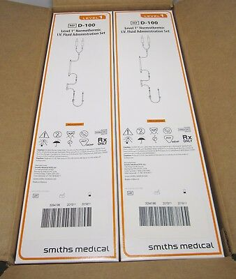 NEW Case of 10 SMITHS MEDICAL D-100 LEVEL 1 Normothermic Administration Set 2019