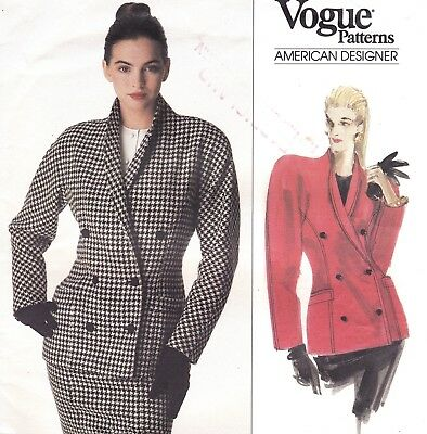 Vtg 80s UC Vogue Pattern 2156 Calvin Klein Double Breasted Jacket Lapels Sz 8