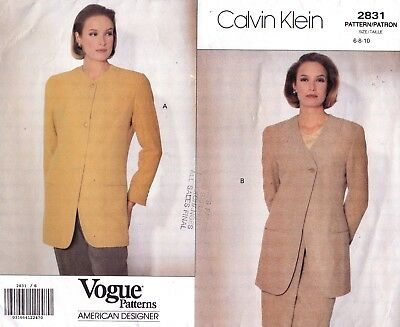 Vtg 90s UC Vogue Calvin Klein Pattern 2831 Jacket Neck & Closure Options Sz 6-10