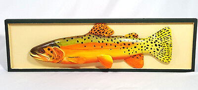 Rio Grande Cutthroat Trout Carved Wood Wall Mount Fish Carving Artist Signed