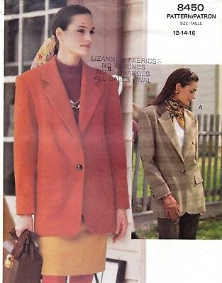 Vtg UC Vogue Pattern 8450 Jacket Loose Fit Notched Collar Pockets Sz 12 14 16