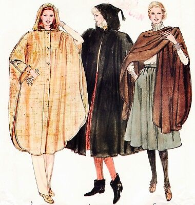 Vtg 80s UC VERY EASY VOGUE Pattern #8147 Hooded Flared Cape & Cover-Up One Size