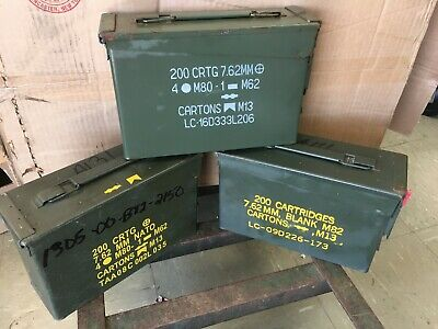 ONE - 30 Cal Ammo Can Army Military M19A1 Metal Storage Box 7.62 MM Free Ship