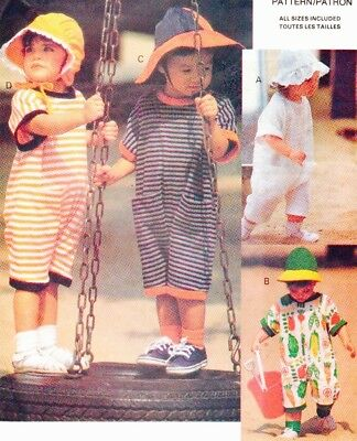 Vtg 90s UC VOGUE Little Sport Pattern 8579 Jumpsuits & Hats Sz 6 Mos 1 2 3 4 Yrs