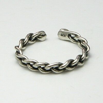 Solid 925 Sterling Silver Toe Ring Chain Design Oxidised Ladies New inc Gift Bag