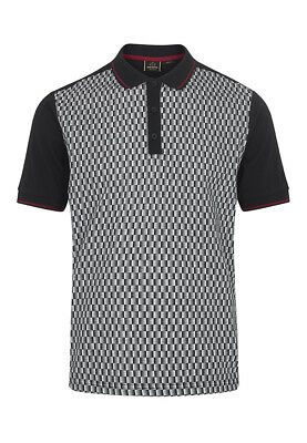 Merc Of London Pollack Geo Print Short Sleeved Polo Black